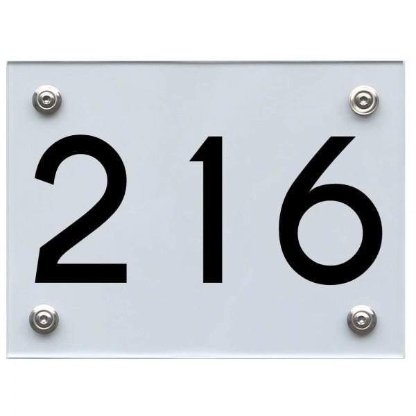 Hausnummernschild 216 schwarz