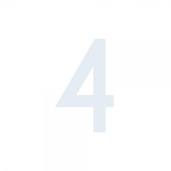 Zahlenaufkleber 4 weiß