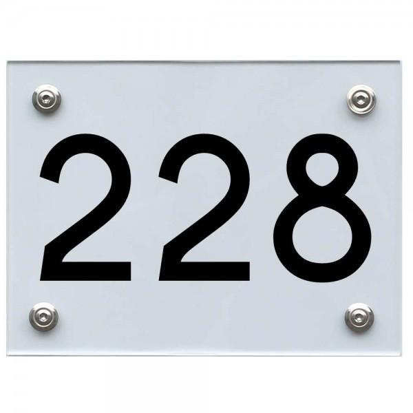 Hausnummernschild 228 schwarz