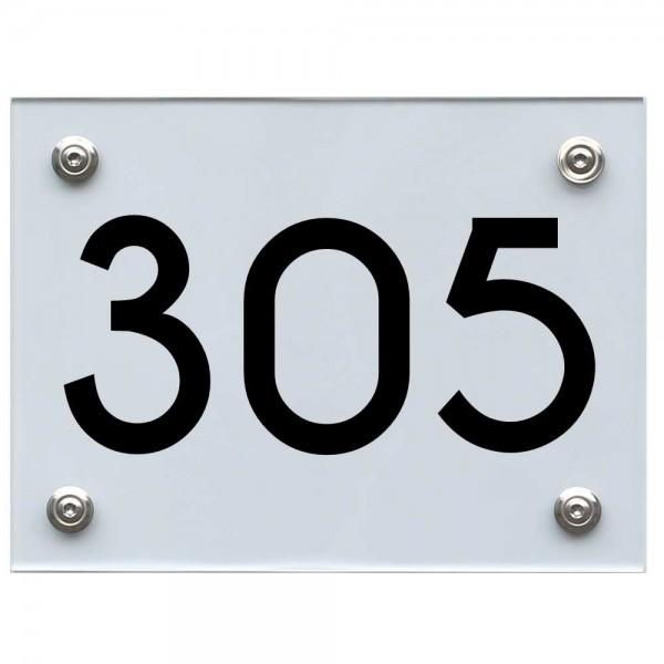 Hausnummernschild 305 schwarz