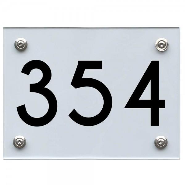 Hausnummernschild 354 schwarz