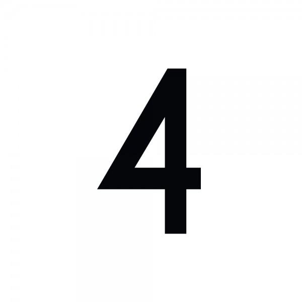 Zahlenaufkleber 4 schwarz