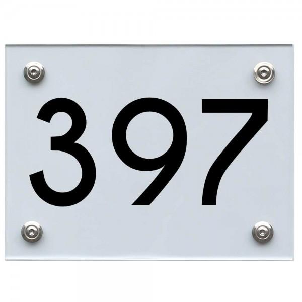 Hausnummernschild 397 schwarz