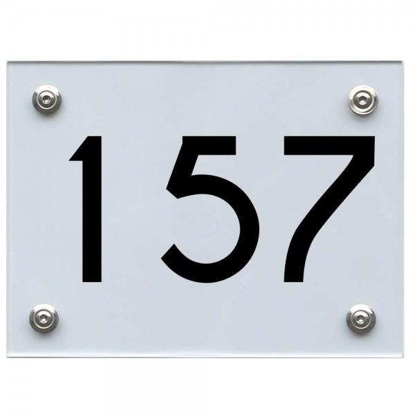 Hausnummernschild 157 schwarz