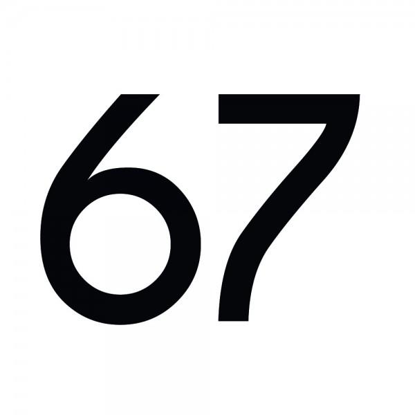 Zahlenaufkleber 67 schwarz