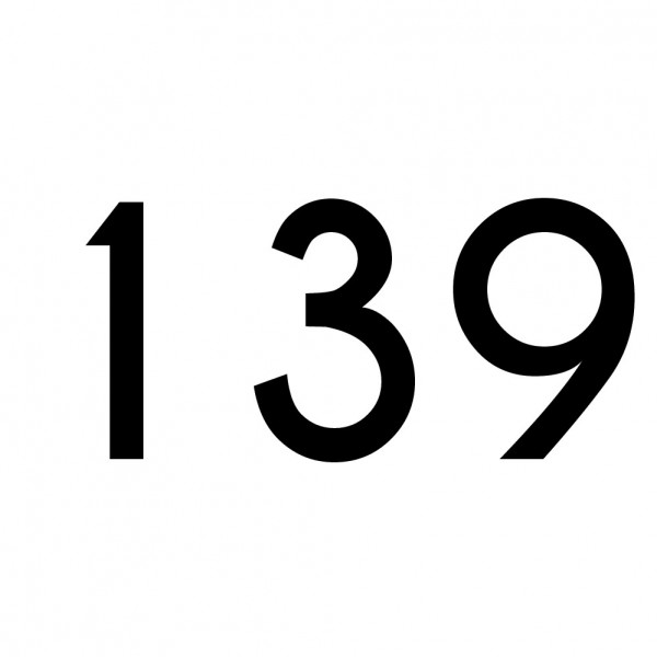 Hausnummer Aufkleber 139 schwarz