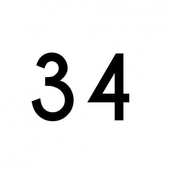 Hausnummer Aufkleber 34 schwarz
