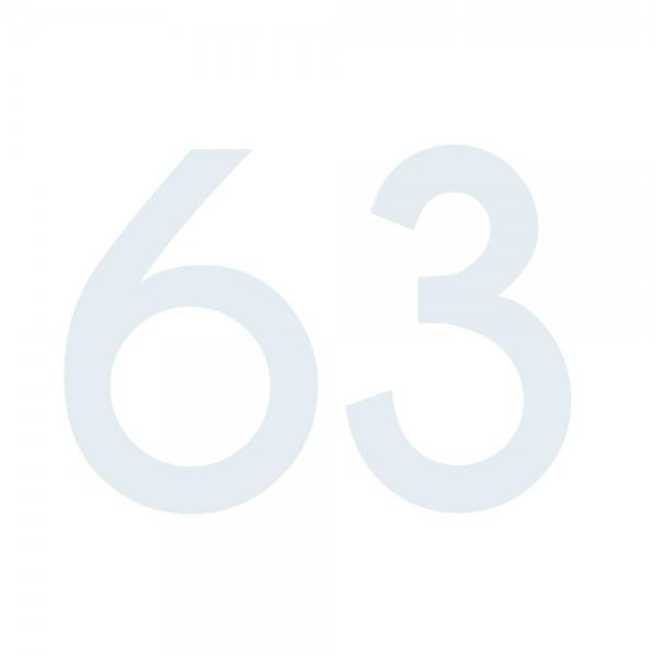 Zahlenaufkleber 63 weiß