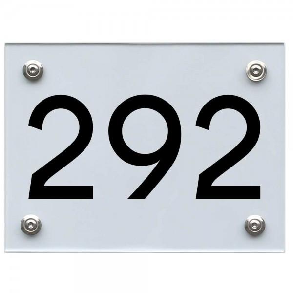 Hausnummernschild 292 schwarz