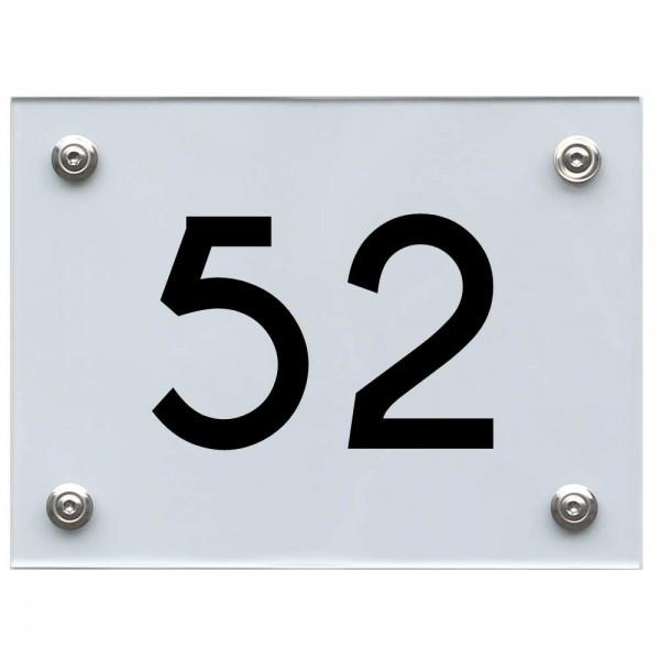 Hausnummernschild 52 schwarz