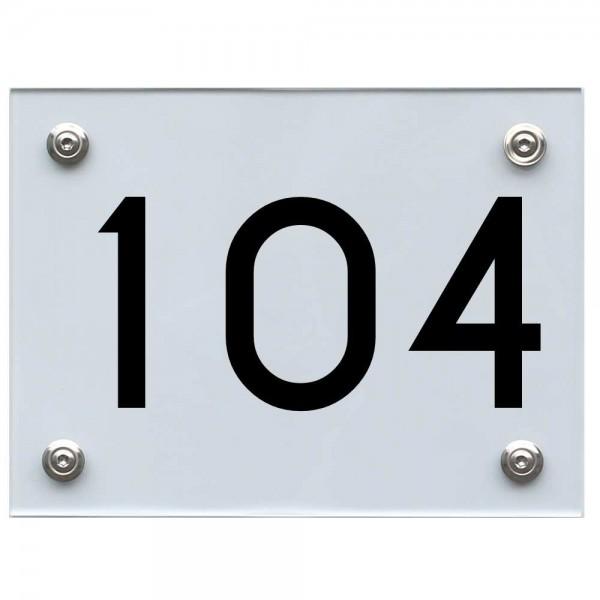 Hausnummernschild 104 schwarz
