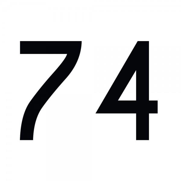 Zahlenaufkleber 74 schwarz