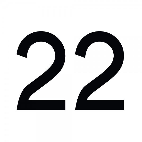 Zahlenaufkleber 22 schwarz