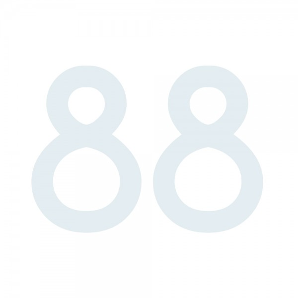 Zahlenaufkleber 88 weiß