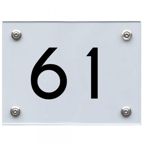 Hausnummernschild 61 schwarz