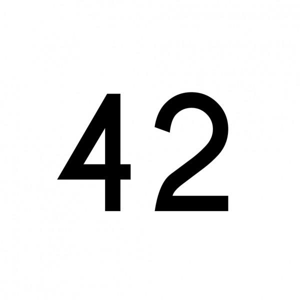 Hausnummer Aufkleber 42 schwarz