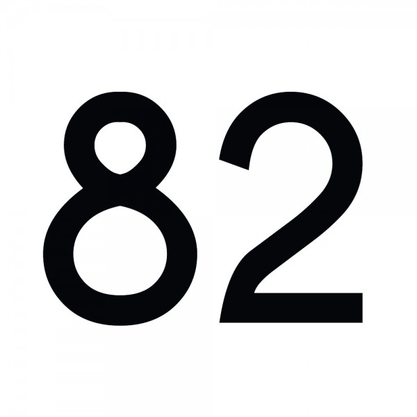 Zahlenaufkleber 82 schwarz