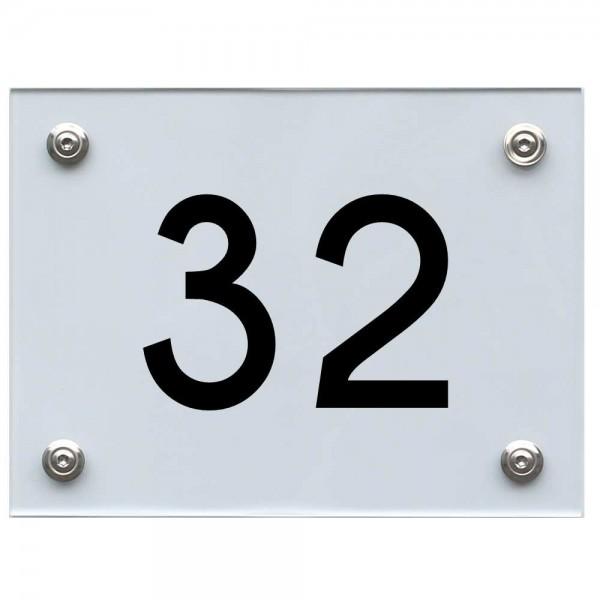 Hausnummernschild 32 schwarz