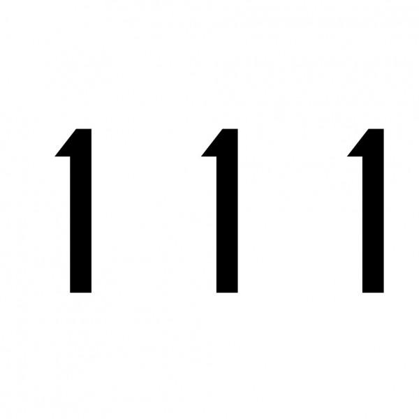 Hausnummer Aufkleber 111 schwarz