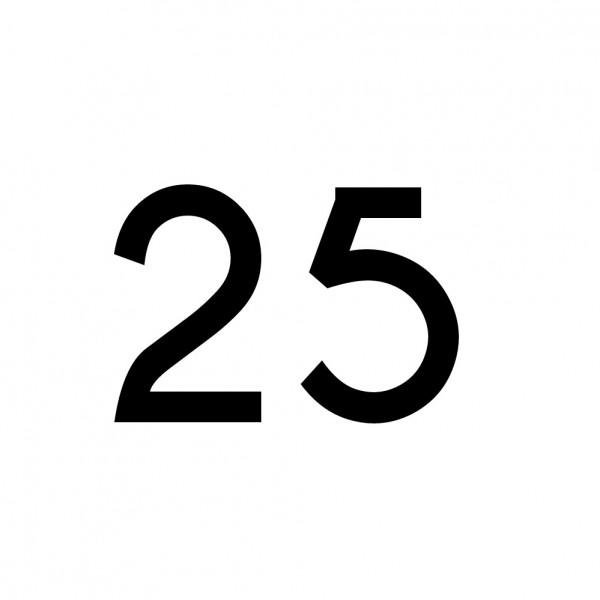 Hausnummer Aufkleber 25 schwarz