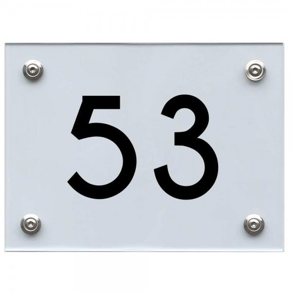 Hausnummernschild 53 schwarz