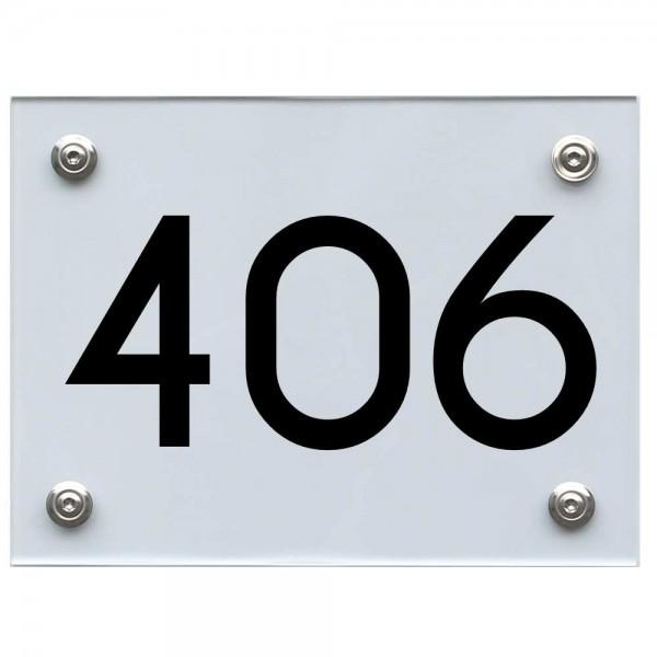 Hausnummernschild 406 schwarz