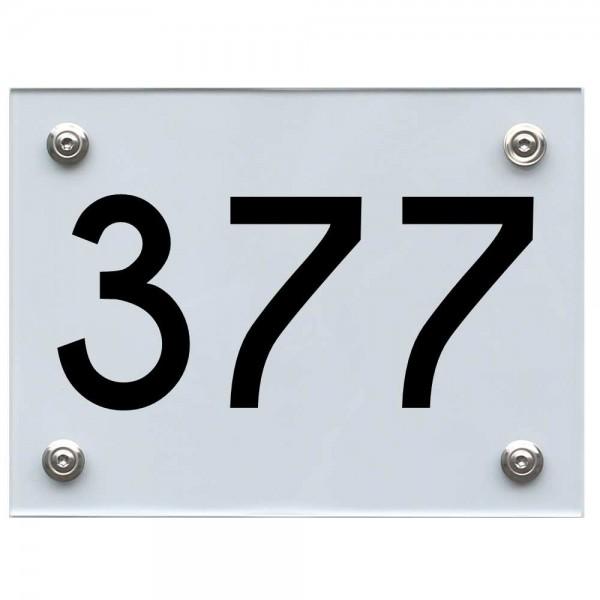 Hausnummernschild 377 schwarz