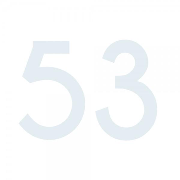 Zahlenaufkleber 53 weiß