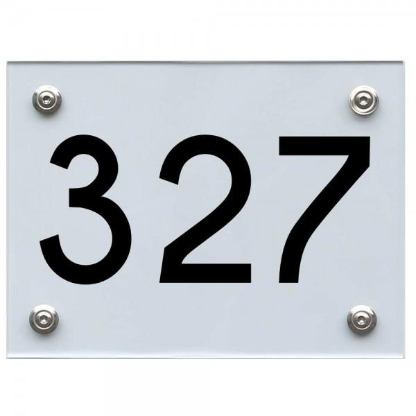 Hausnummernschild 327 schwarz