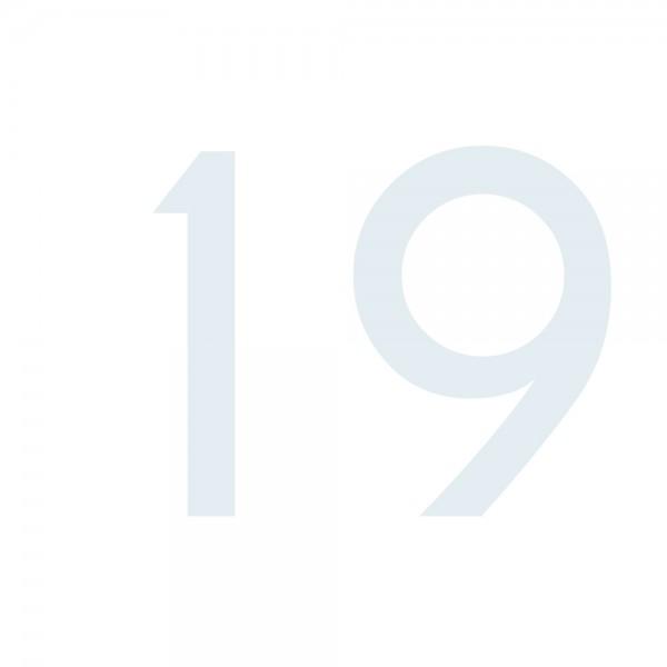 Zahlenaufkleber 19 weiß