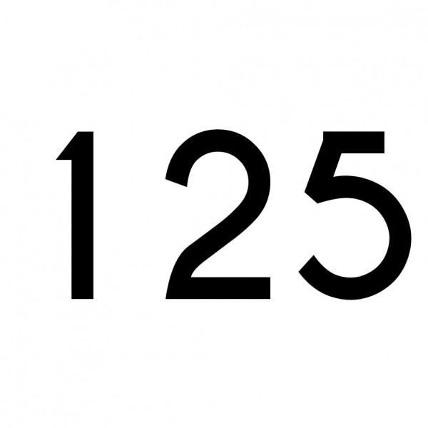 Hausnummer Aufkleber 125 schwarz