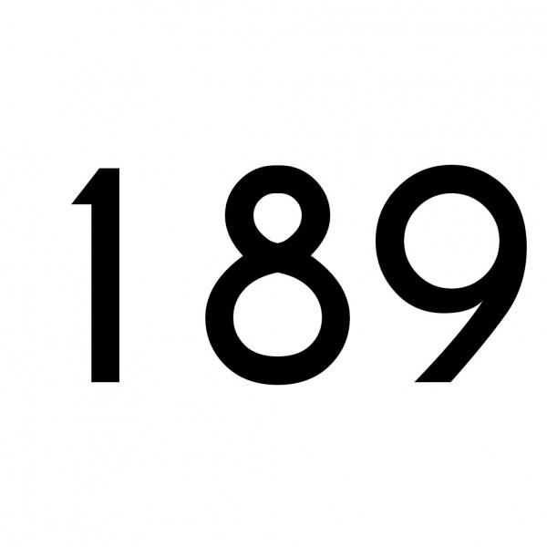 Hausnummer Aufkleber 189 schwarz