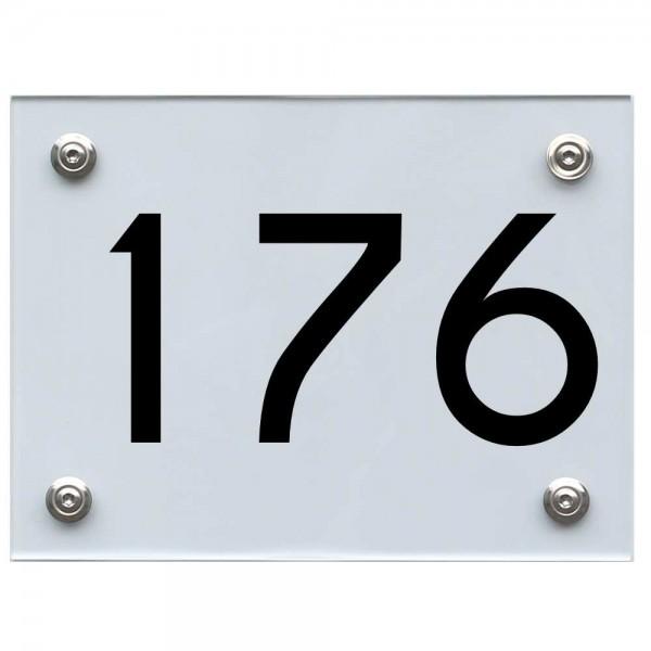 Hausnummernschild 176 schwarz