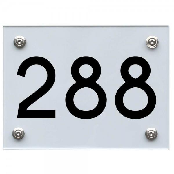 Hausnummernschild 288 schwarz