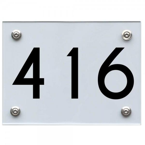 Hausnummernschild 416 schwarz