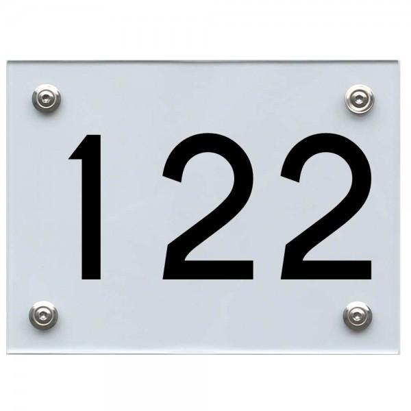 Hausnummernschild 122 schwarz