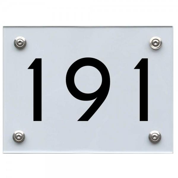 Hausnummernschild 191 schwarz