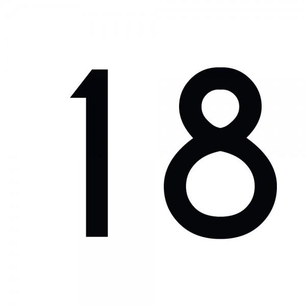 Zahlenaufkleber 18 schwarz