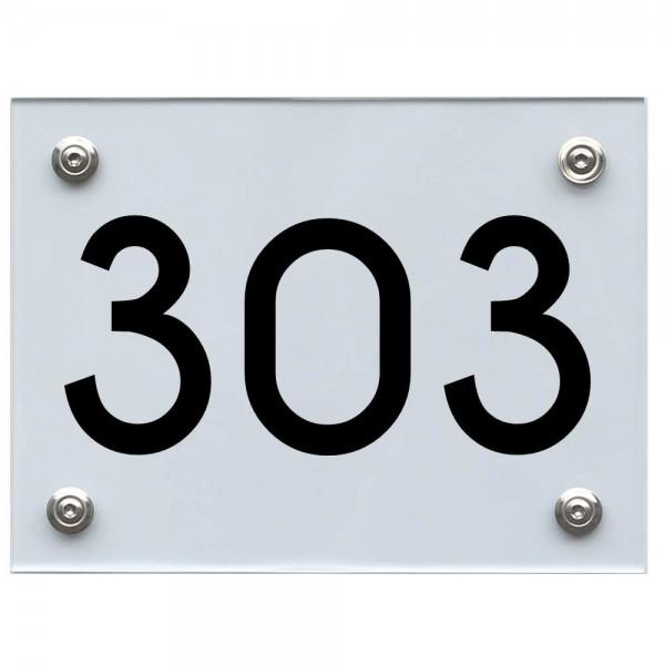 Hausnummernschild 303 schwarz