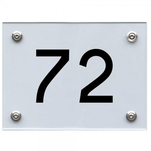 Hausnummernschild 72 schwarz