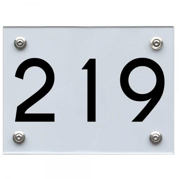 Hausnummernschild 219 schwarz
