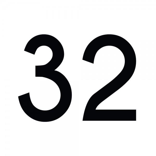 Zahlenaufkleber 32 schwarz