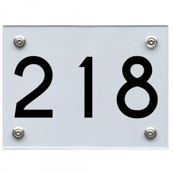 Hausnummernschild 218 schwarz