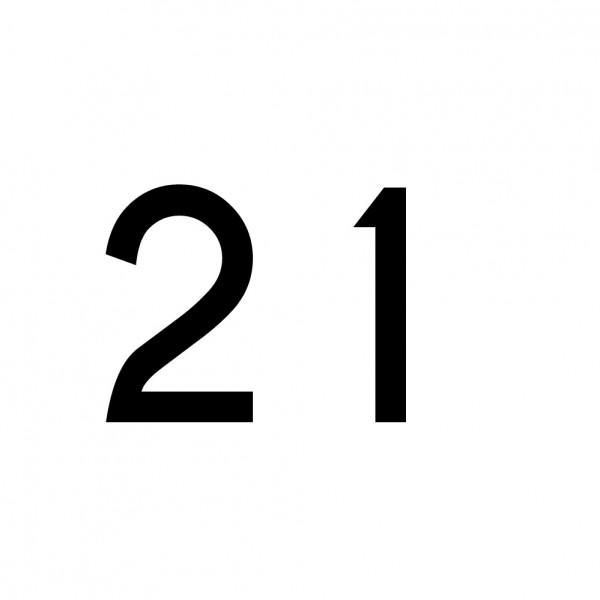 Hausnummer Aufkleber 21 schwarz
