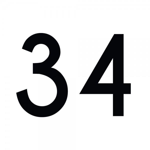 Zahlenaufkleber 34 schwarz