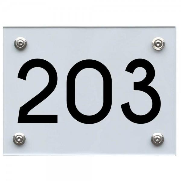Hausnummernschild 203 schwarz