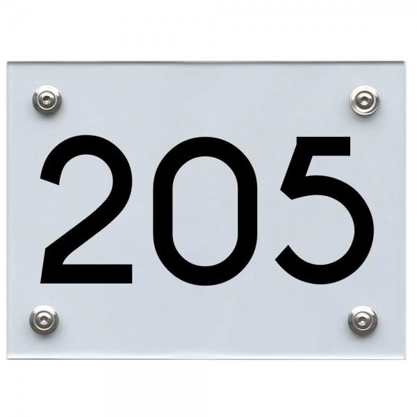 Hausnummernschild 205 schwarz