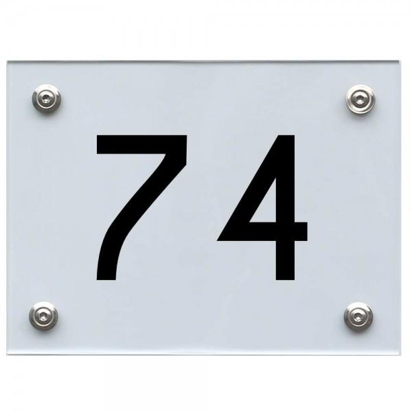 Hausnummernschild 74 schwarz