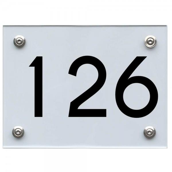 Hausnummernschild 126 schwarz