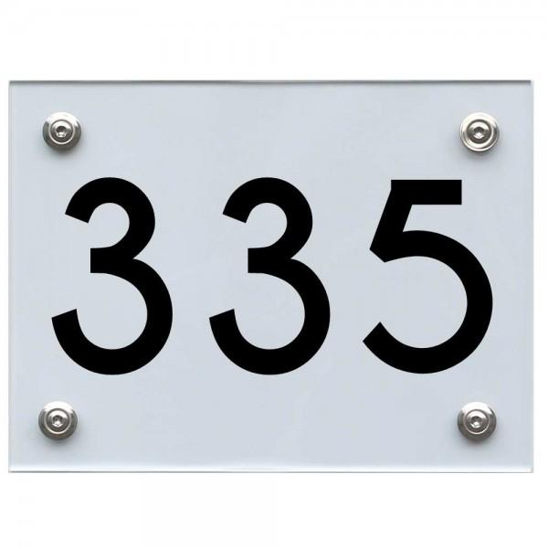 Hausnummernschild 335 schwarz
